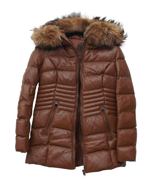 Shearling Puffer Jacket With Hood