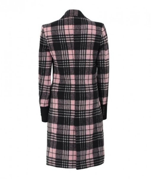 Women Checkered double breasted pink coat