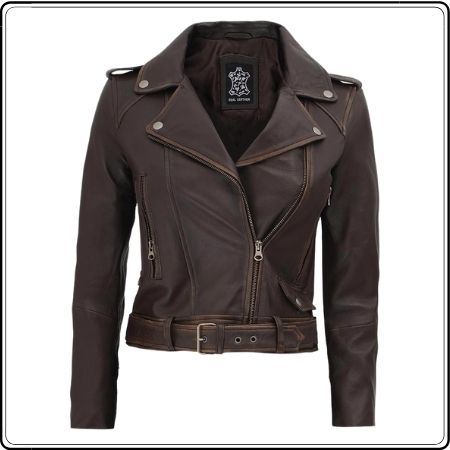 Womens Cropped Brown Distressed Leather jacket
