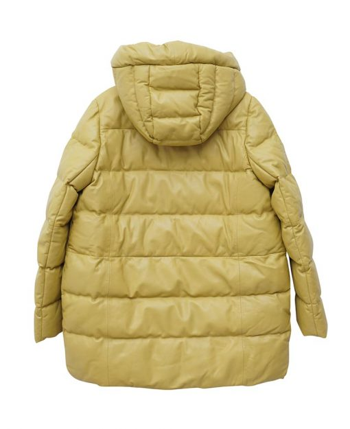 Yellow Hooded Leather Puffer Coat