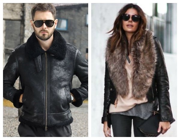 black leather jackets with fur shearling