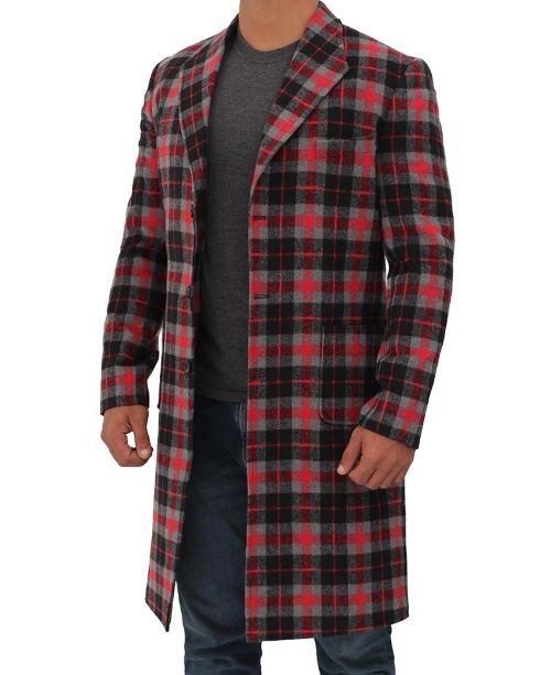 long wool coat checkered style