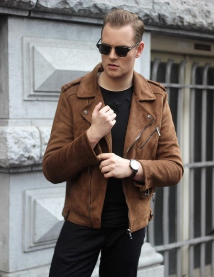 mens brown suede moto leather jacket fashion