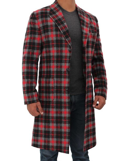 red and black plaid wool coat