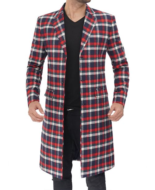 red and blue wool coat checkered