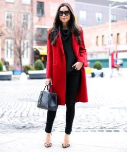 red wool coat single breasted