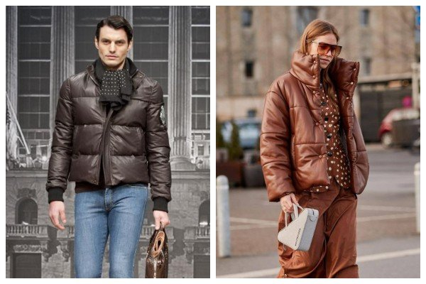 Leather Puffer jacket Brown