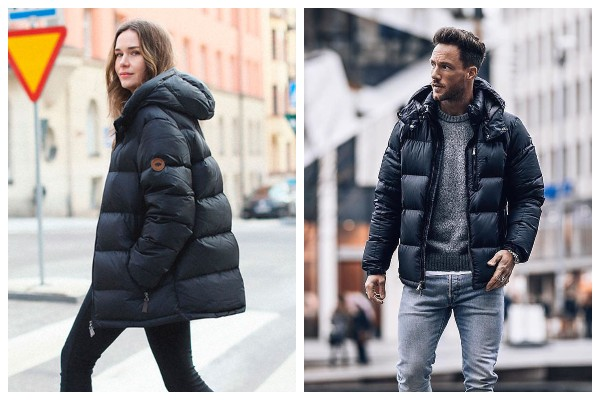 Leather Puffer jacket with hood