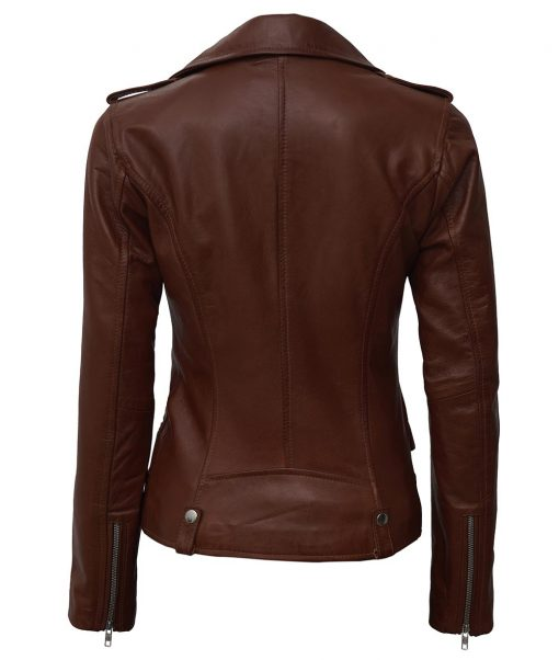 Brown Asymmetrical Real Leather Jacket