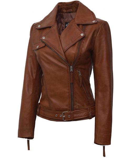 Real leather jacket tan-brown