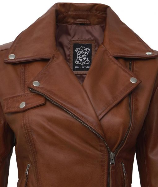 brown real leather moto jacket